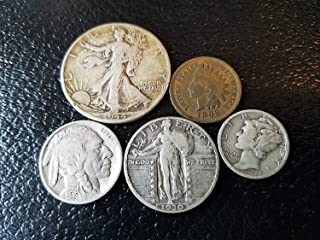 Old U.S. Silver Coins 5 Coin Collection Set - Indian Head Cent, Buffalo Nickel, Mercury Dime, Standing Liberty Quarter, Walking Liberty Half Dollar Various Mint Marks Fine and Better