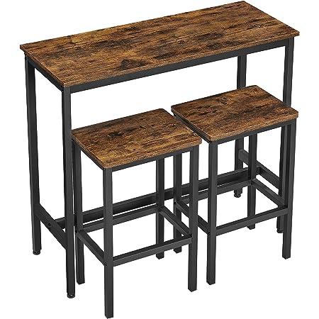 VASAGLE Ensemble Table de Salle à Manger, Table de Bar et chaises de Bar, Table Haute et Tabouret, Cadre en Acier, Style Industriel, Marron Rustique et Noir LBT218B01