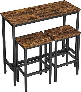 VASAGLE Juego de Mesa Comedor, Set Mesa Bar, Barra de 100 x 40 x 90 cm con 2 taburetes de 30 x 40 x 65 cm, Marco de Metal,...
