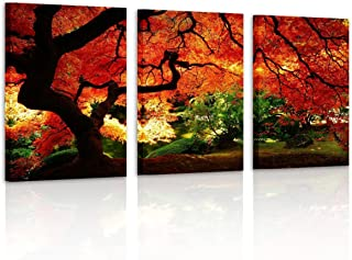 Pyradecor 3 Piece Giclee Canvas Prints Wall Art Paintings Ready to Hang for Living Room Home Decor - Red Maple Trees Large Modern Stretched and Framed Contemporary Landscape Pictures on Canvas Artwork