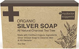 Organic Silver Soap - Renewing Natural Charcoal Tea Tree: Made with Certified Organic Ingredients. Silver Infused Soap to Cleanse Skin & Kill Bacteria. 4oz Bar (1 Bar)