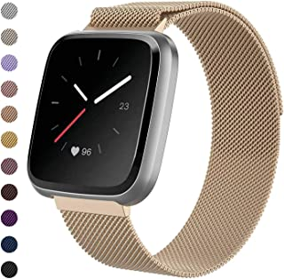 Tanyl Fitbit Versa Bands for Women Men, Magnetic Clasp Mesh Loop Stainless Steel Metal Bangle/Bracelet/Assesories/Straps/Wrist Band for Fitbit Versa/Versa 2/Lite/Special Edition Large Small