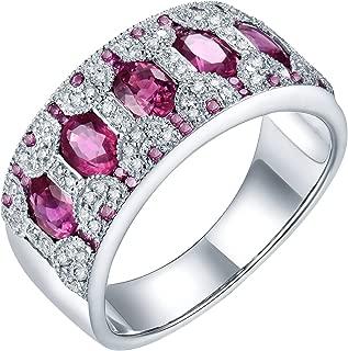 14K White Gold Pink Sapphire Engagement Diamonds Ring Wedding Band for Women