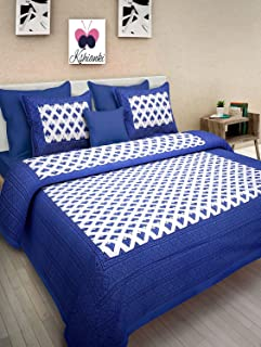 Kshianki® Comfort Rajasthani Jaipuri Traditional Sanganeri Print 180 TC Cotton Double Bedsheet with 2 Pillow Covers (Multi...