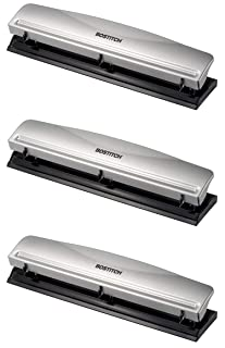 Bostitch Office HP12 3 Hole Punch, 12 Sheet Capacity, Metal,Silver - 3 Pack