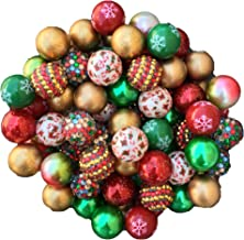 20mm Holiday Themed 50 Count Chunky Bubble Gum Acrylic Beads Bulk Wholesale Pack Necklace Kit (Gold Christmas)