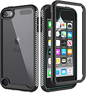 iPod Touch 7 Case, iPod Touch 6/Touch 5 Phone Case with HD Screen Protector, [Military Grade] Gritup Full Body Hybrid Rugged Clear Shockproof Protective Case for iPod Touch 7th/ 6th/ 5th, Black