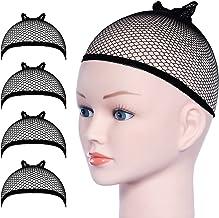 URAQT pruik caps, 4 stuks zwarte mesh pruik caps rekbare nylon open end pruiken cup, unisex pruik kous cap haar cup voor l...
