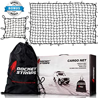 "ROCKET STRAPS Cargo Net | 4'x6' Bungee Net Stretches to 8'x12' | Truck Bed Net Includes (12) Steel Carabiners & Bag | Heavy Duty 5mm 3""x3"" Mesh | Bonus 16"