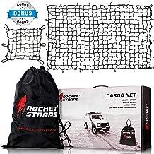 "ROCKET STRAPS Cargo Net   4'x6' Bungee Net Stretches to 8'x12'   Truck Bed Net Includes (12) Steel Carabiners & Bag   Heavy Duty 5mm 3""x3"" Mesh   Bonus 16""x16"" Motorcycle and Bike Net   (2) Cargo Nets"