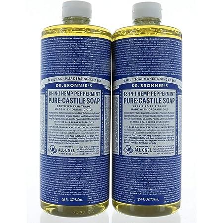 Set 2, Dr. Bronner's Organic Soaps Pure-Castile Soap, 18-in-1 Hemp Peppermint, 25 FL/739mL Each