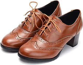 747872a294e Odema Womens PU Leather Oxfords Brogue Wingtip Lace up Chunky High Heel  Shoes Dress Pumps Oxfords