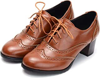 Womens PU Leather Oxfords Brogue Wingtip Lace up Chunky High Heel Shoes Dress Pumps Oxfords