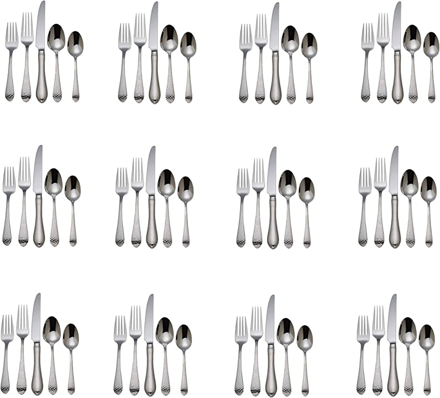 Reed Barton Hammered Antique 18 10 Stainless Steel 60 Piece Set Service For Twelve