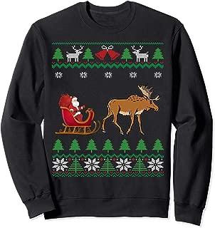 Moose Pulling Santa's Sleigh Winter Wildlife Ugly Christmas Sweatshirt