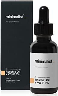 Minimalist Pure Rosehip Oil with Vitamin C Face Serum for Glowing Skin, 30 ml | Radiant Glow Serum For Men & Women | Face ...