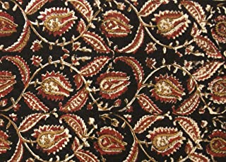 Indian Fabric 100% Cotton Kalamkari Block Print for Sewing Crafts Home Décor 2.5 Yard by Craftbot