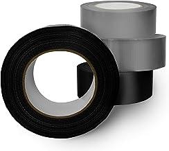 VINDOR Weefseltape, universele Profitape Duct tape, handscheurbaar, sterk klevend, 2 x zilver, 2 x zwart, elk 50 meter