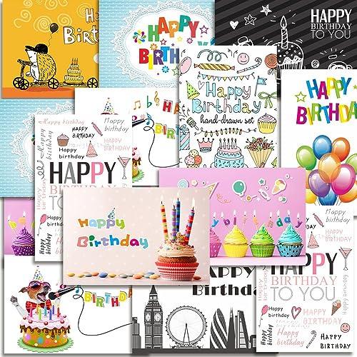 Kuuqa 20 Stucke Alles Gute Zum Geburtstag Karten Mit Umschlagen Grusskarten Entworfen Von KUUQA