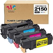 Weemay Compatible Toner Cartridges Replacement for Dell 2150cdn 2150cn 2150 2155cdn 2155cn 2155 (Black, Cyan, Yellow, Magenta, 4 Packs)