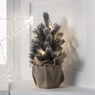 """Lights4fun, Inc. 12"""" Pre Lit Battery Operated LED Mini Frosted Artificial Christmas Tree Decoration"""