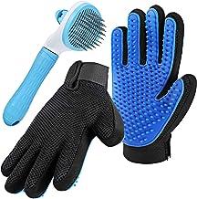 Pet Grooming Glove for Cat Dog, nomoypet Gentle Deshedding Brush Glove with Self Cleaning Slicker Brush, Efficient Pet Hai...