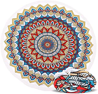 ELECCTV Round Beach Towel, Mandala Microfiber Round Beach Blanket for Yoga Mat Picnic Blanket Baby Pet Playing Mat with Fringe Tassels