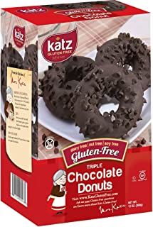 Katz Gluten Free Triple Chocolate Donuts | Dairy Free, Nut Free, Soy Free, Gluten Free | Kosher (1 Pack of 6 Donuts, 13 Ounce)