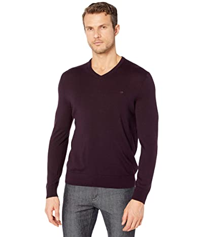 Calvin Klein Merino V-Neck Sweater (Plum Noir) Men