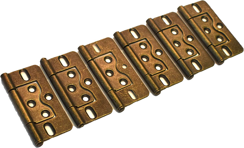 DH-3x1.5-6B J/&J Products 3 x 1.5 Steel Bronze Pack of 6 Bi-Fold Door Non-Mortise Hinge