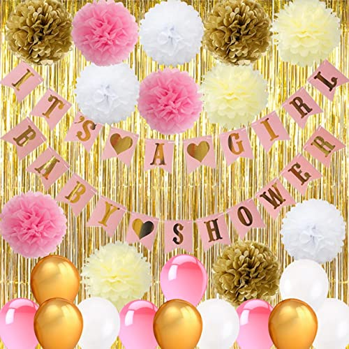 Baby Shower Pink Gold Decorations Amazoncom