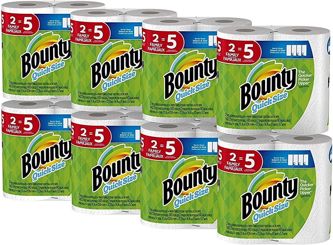 Bounty Quick Size Paper Towels White Family Rolls 16 Count Equal To 40 Regular Rolls