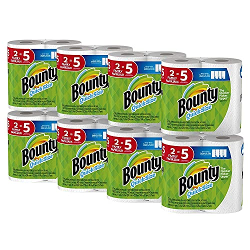 Bounty Quick-Size Paper Towels, White, Family Rolls, 16 Count (Equal