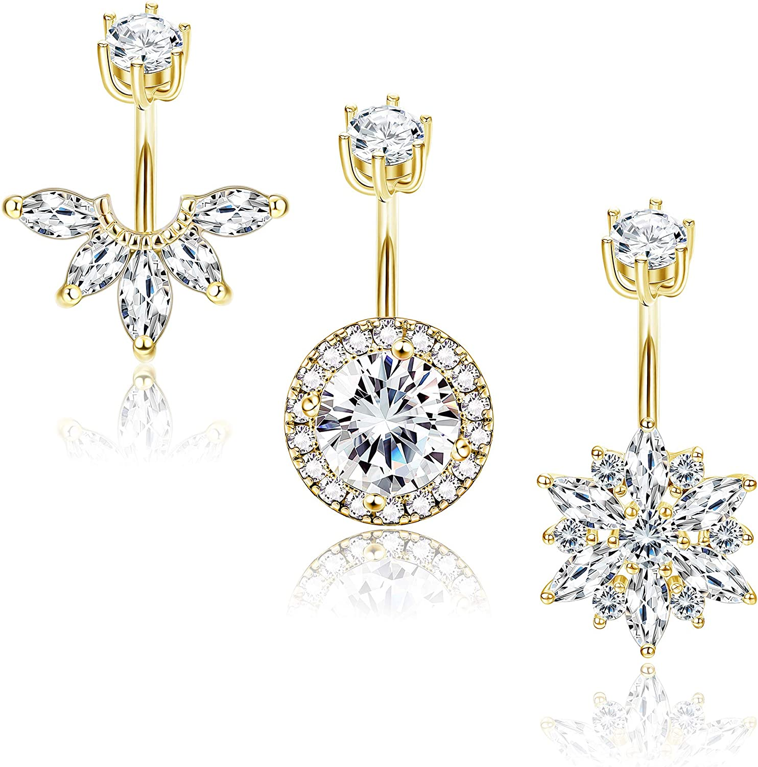 Drperfect 14G CZ Belly Button Rings Belly Rings for Women Stainless Steel Cubic Zirconia Halo Flower Navel Rings Navel Belly Piercing Jewelry