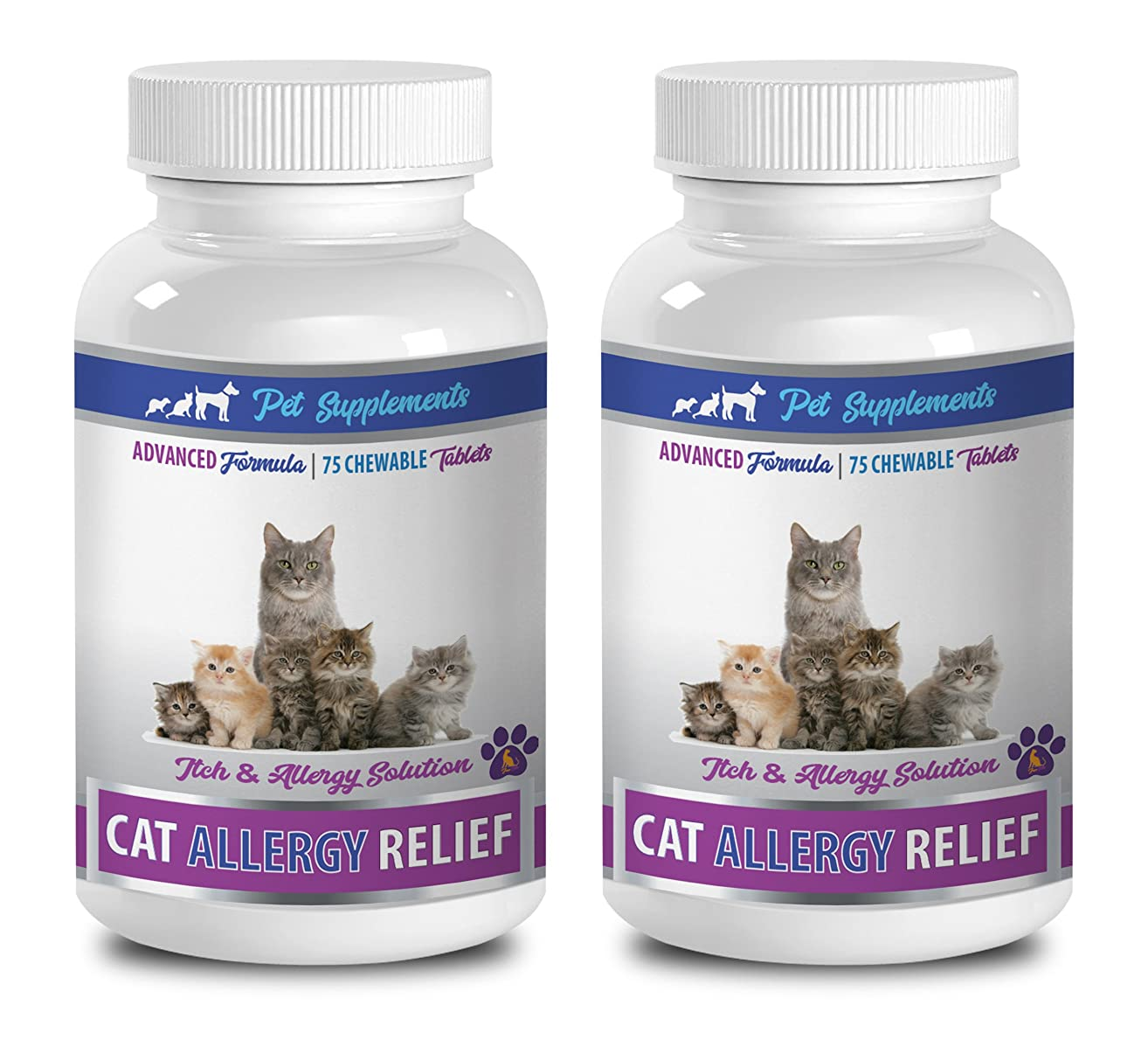 PET SUPPLEMENTS & NUTRITION LLC cat Skin Issues - CAT Allergy Relief Complex - Itch Relief Solution - Immune Support - VETS Recommended - cat itching Post - 2 Bottles (150 Chewable Tablets)