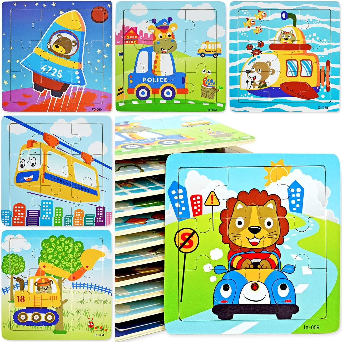 Kids Mini Wooden Puzzles Toy Portable Travel Funny Interactive Games Educational