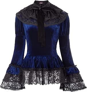 Women Gothic Victorian Velvet Top Steampunk Blouse + Lace Cape