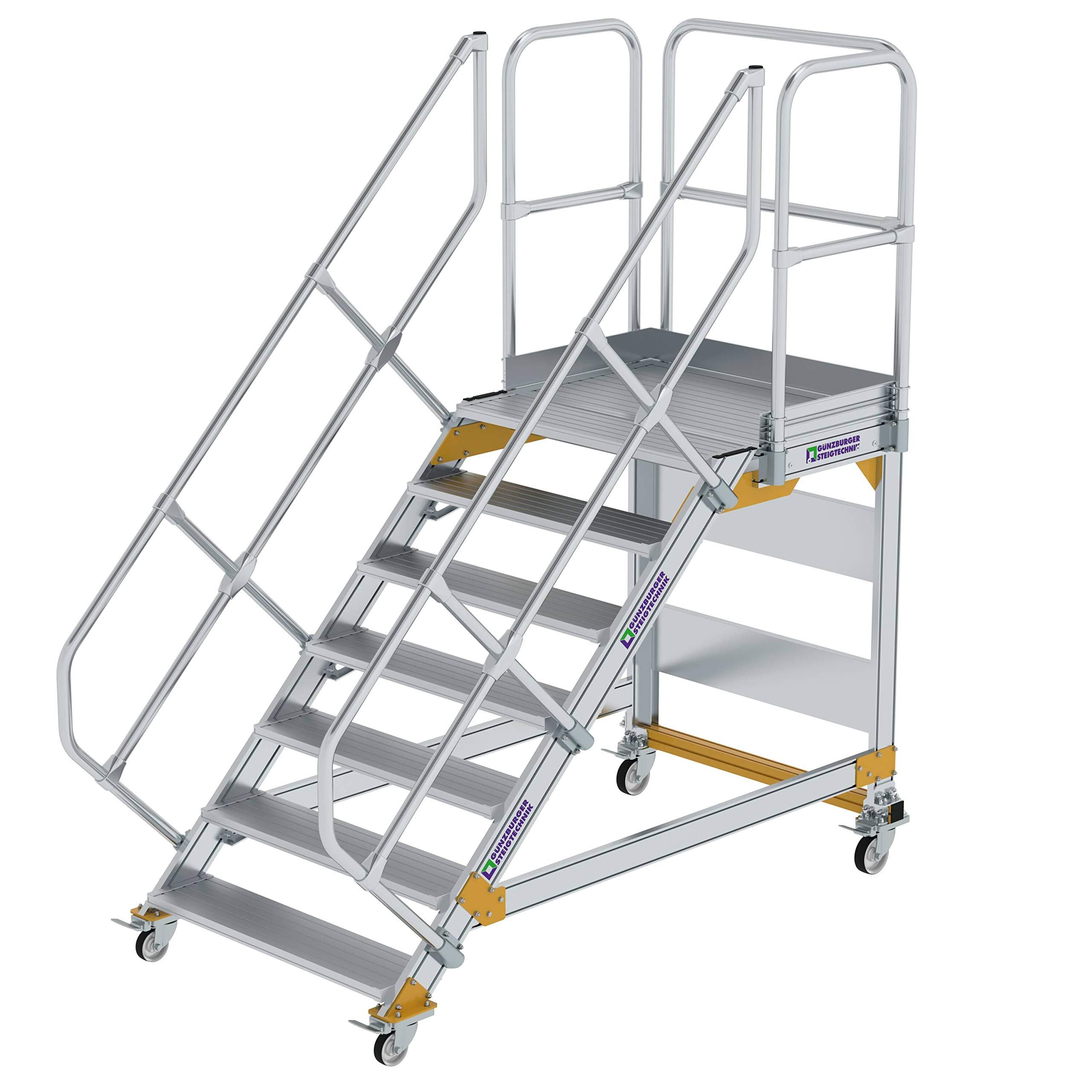 GÜNZBURGER STEIGTECHNIK Escalera de plataforma de aluminio, móvil, 45°, 1.000x7: Amazon.es: Bricolaje y herramientas