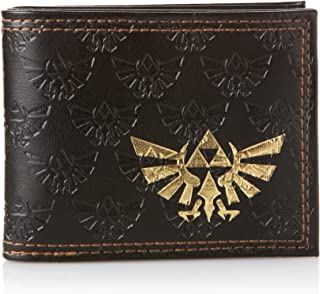 Zelda Bifold Wallet with Embossed Link and Gold Foil Logos Dark Brown