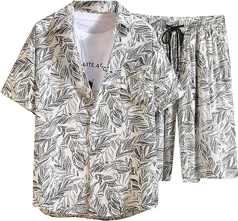 Men's Hawaiian 2 Pieces Outfit Summer Casual Short Sleeve Floral Tracksuit Shirt Shorts Suit Fashion Beach Suit Sets