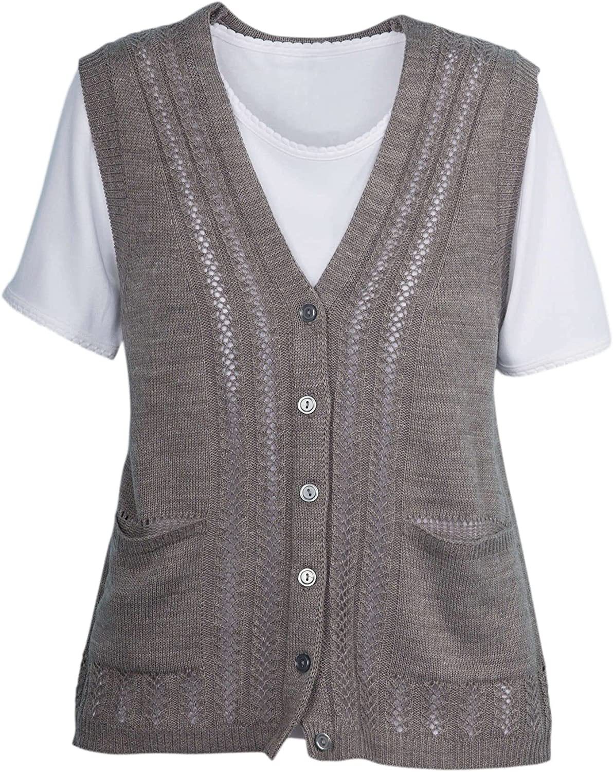 National Classic Sweater Vest - Pointelle Knit Detail, Button-Front & Patch Pockets