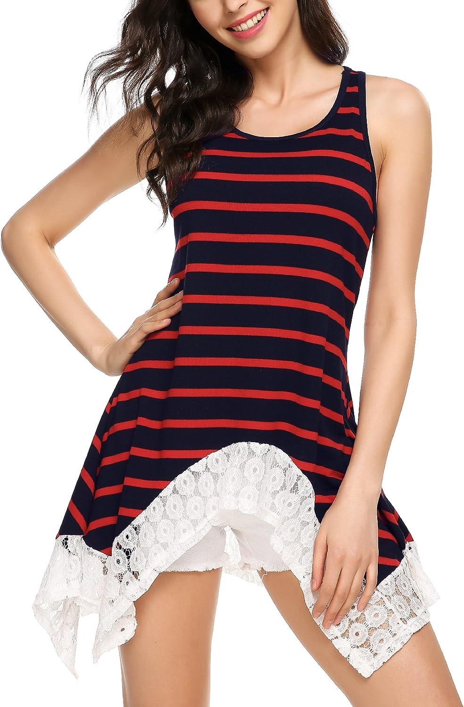 Beyove Women Sleeveless Lace Hem Asymmetrical Striped Flowy Tunic Tank Top