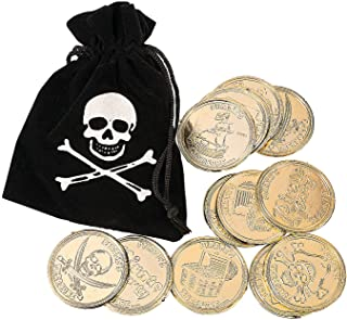 Fun Express - Pirate Drawstring Bags W/Gold Coins - Toys - Value Toys - Play Money - 12 Pieces