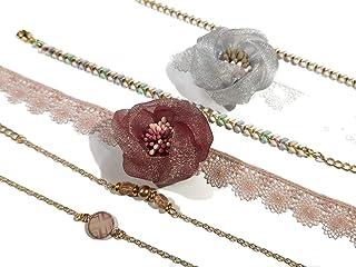 Fiore matrimonio braccialetto polvere rosa bianco verde pizzo fiore cravatta al polso oro riempito regali cerimonia matrim...