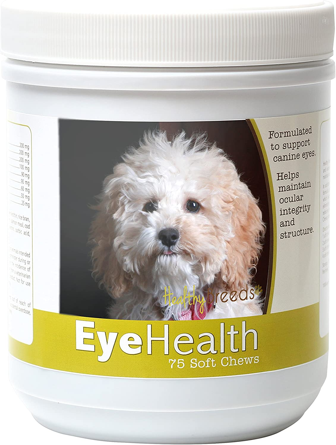 Healthy Breeds Dog Eye Care Support for Cockapoo – Over 80 Breeds – Ocular Strength Soft Chew Supplement – 75 Count