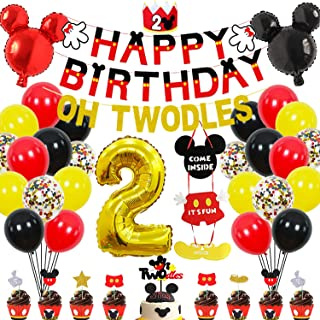 2nd Mickey Mouse Birthday Party Supplies Decorations 57Pcs - HAPPY BIRTHDAY Banner OH TWODLES Banner Red/Yellow/Black/Conf...