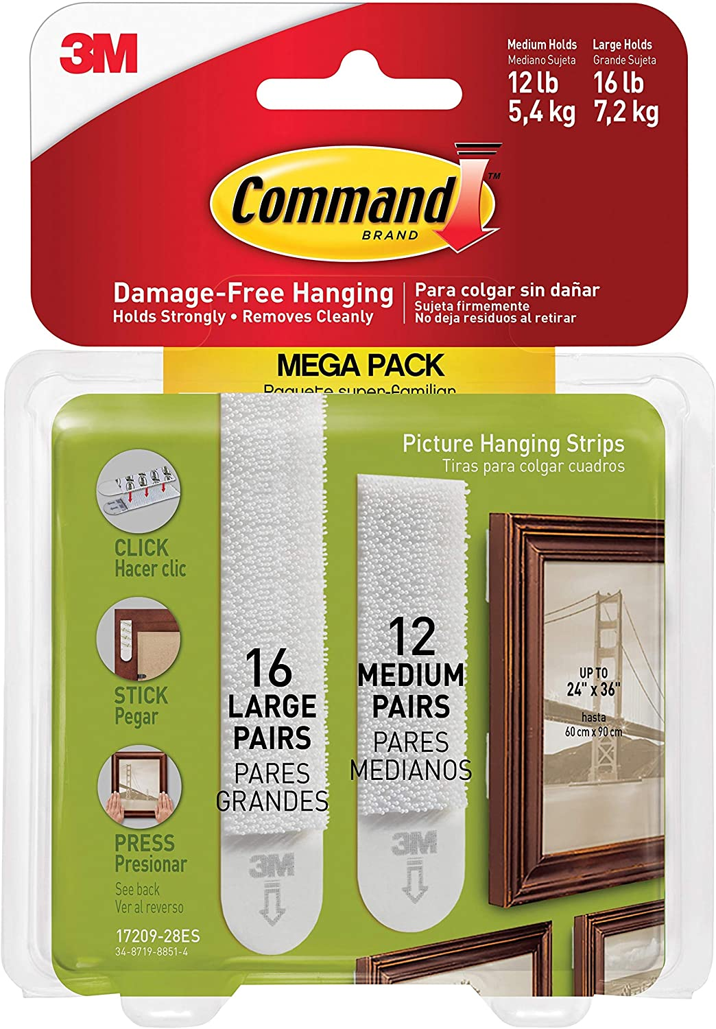 List price 3M Command Picture Hanging free shipping Mega Pack Strips