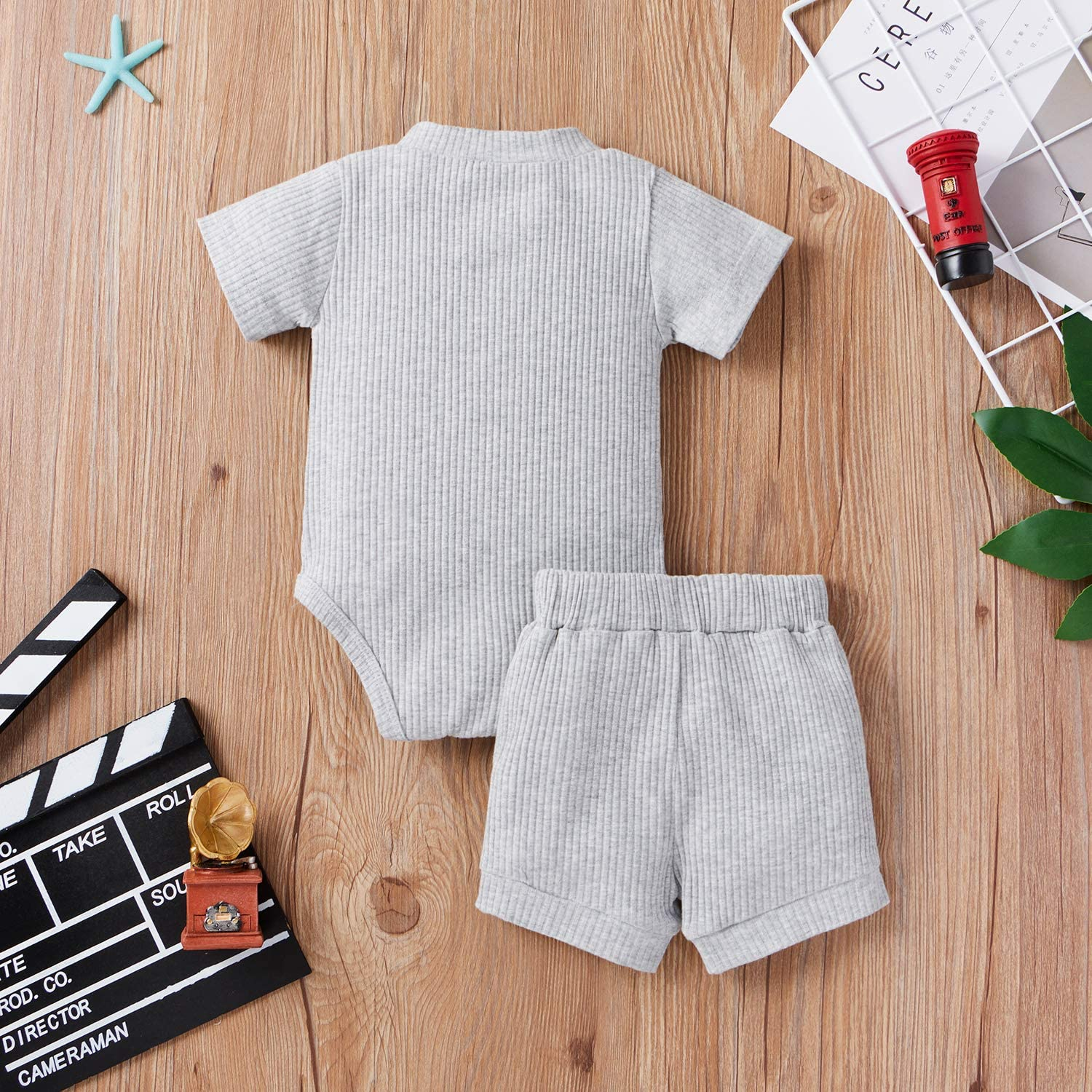 Meiweileya Newborn Baby Boy Girls Clothes Solid Ribbed Short Sleeve Romper Shorts Set Summer Outfits
