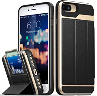 Vena iPhone 8 Plus Wallet Case, iPhone 7 Plus Wallet Case, [vCommute][Military Grade Drop Protection] Flip Leather Cover Card Slot w/Kickstand for Apple iPhone 8 Plus / 7 Plus (Gold/Black)