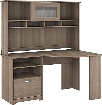 Bush Furniture Cabot Corner Desk with Hutch, 60W, Ash Gray